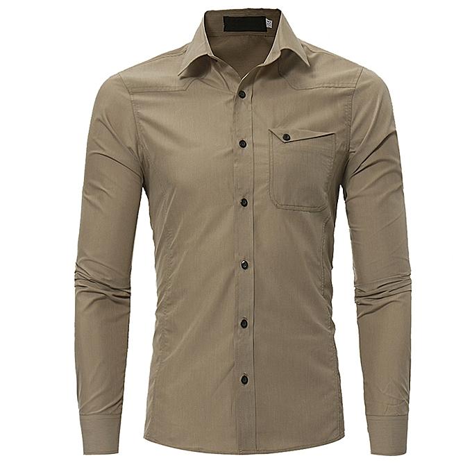 Fashion jiuhap store Fashion Personality Men's Casual Slim Long-sleeved Shirt Top Blouse  à prix pas cher