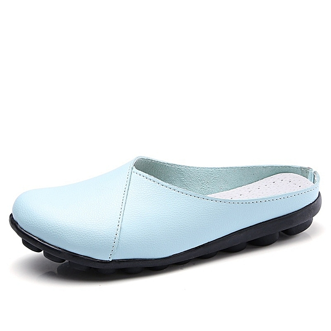 Other femmes Genuine Leather Slipper Round Toe Slip On Casual Sandal  -Moon à prix pas cher