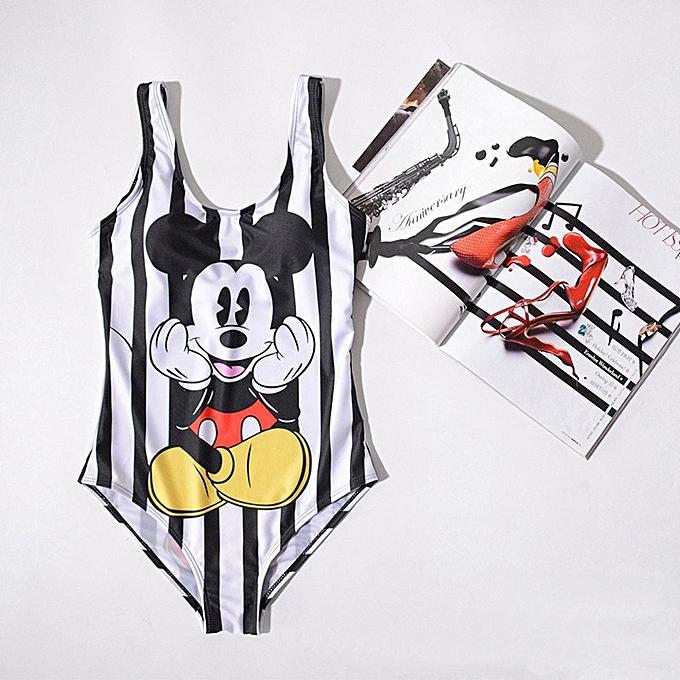 Autre Swimwear femmes One Piece Swimsuit femmes 2019 Mickey Striped Plus Taille Swimsuit High Waist Bathing Suit Monokini Thong( 10) à prix pas cher
