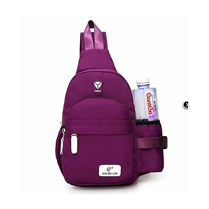 mode femmes Hommes Nylon Shoulder Chest Cycle Sling Daily sac bandoulière voyage sac à dos  violet à prix pas cher