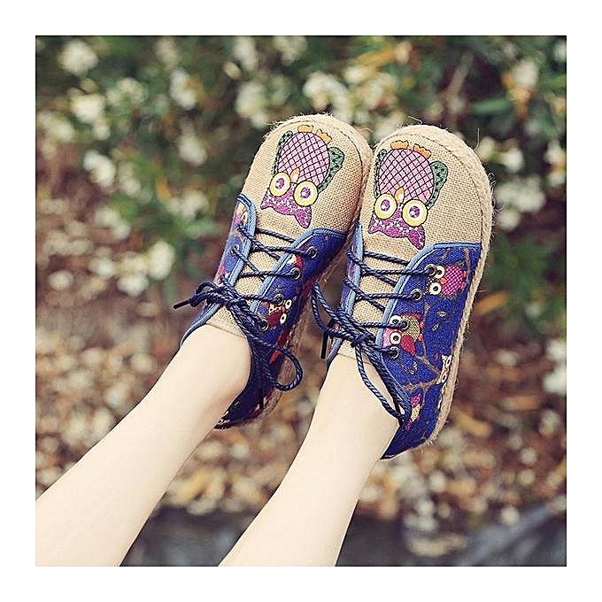 Fashion Fashion Pattern Owl Cute Couleurful Cloth Lace Up femmes Flat Loafers chaussures à prix pas cher    Jumia Maroc