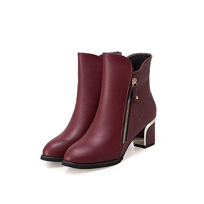 Autre Stylish Stylish Autre Winter Warmth Zipper Leather Boots   Velvet à prix pas cher  | Jumia Maroc 7974e3