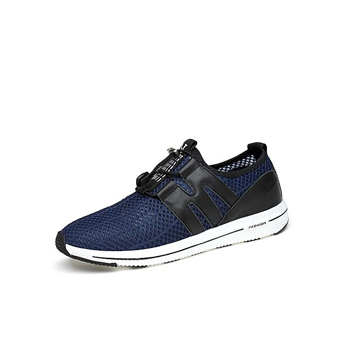 Fashion  s Leather Sport Front-Blue Shoes Sneakers With Elastic At Front-Blue Sport à prix pas cher  | Jumia Maroc 00f300