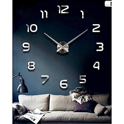 Générique Horloge Murale Design 3d Design Coffee Pour Salon Silver