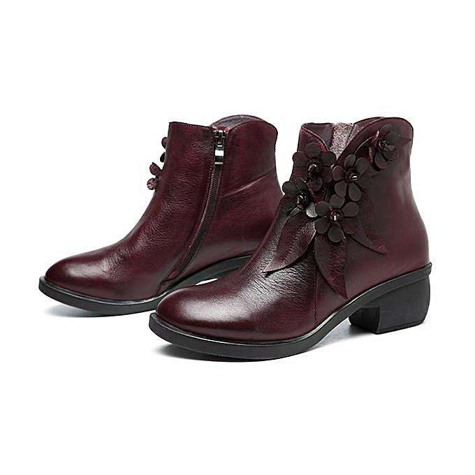 Fashion SOCOFY Sooo Comfy Comfy Sooo Vintage Handmade Floral Fashion WoHommes  Ankle Leather Boots à prix pas cher  | Jumia Maroc 853f39