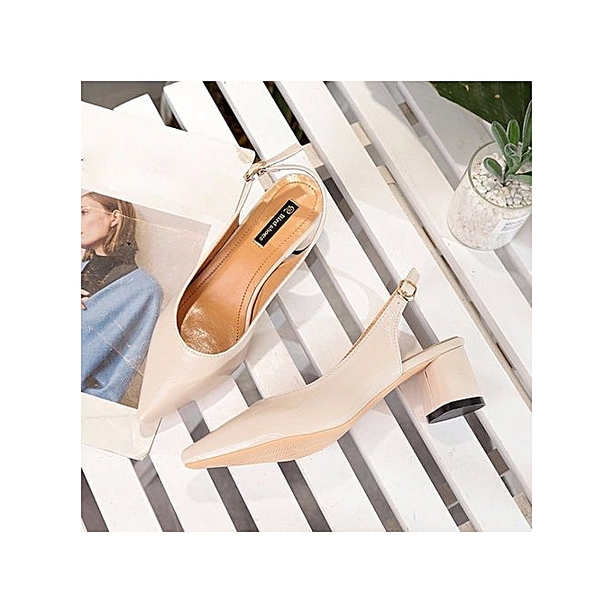 Fashion Blicool Shoes New Style Pure Color Heel Pointed Thin Heel Shallow Mouth Thick Heel Color  Bright Sandals#Beige à prix pas cher    Black Friday 2018   Jumia Maroc 86944f