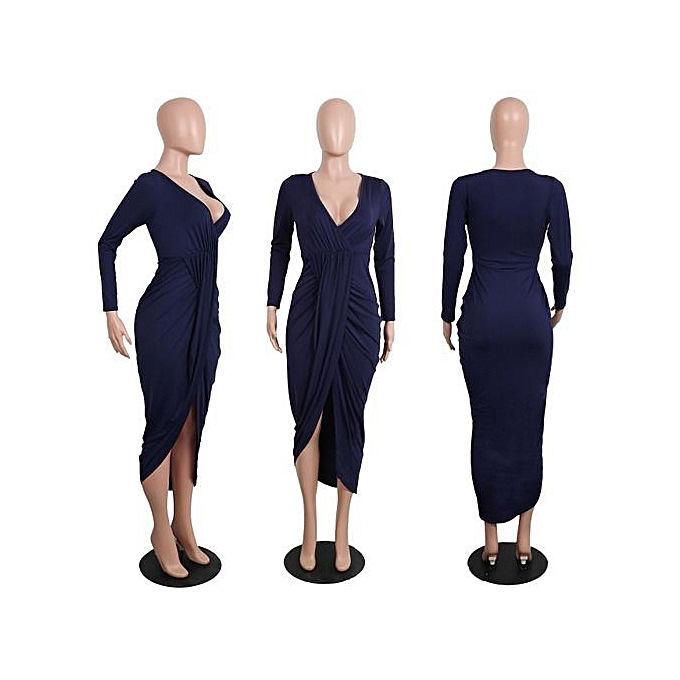 OEM American and European new sexy dress tight long sleeved V collar loose dress S-2XL-dark bleu à prix pas cher