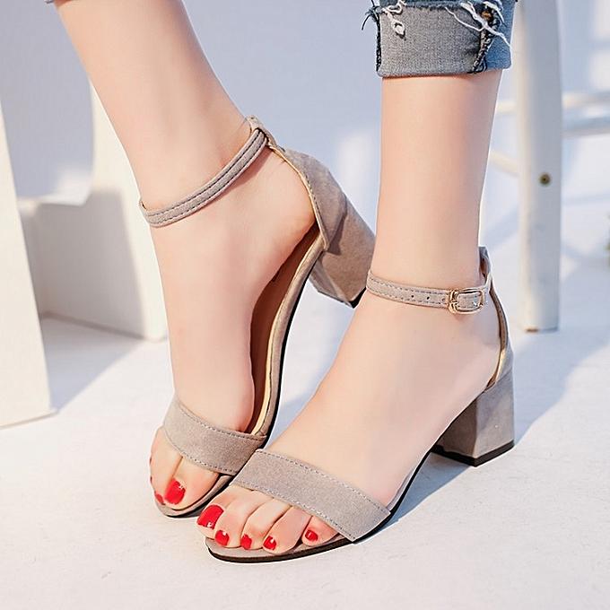 mode été nouveau femmes Solid High Heel femmes Thick with Open Toe Suede  Buckle Wear-resistant Non-slip Sandals à prix pas cher