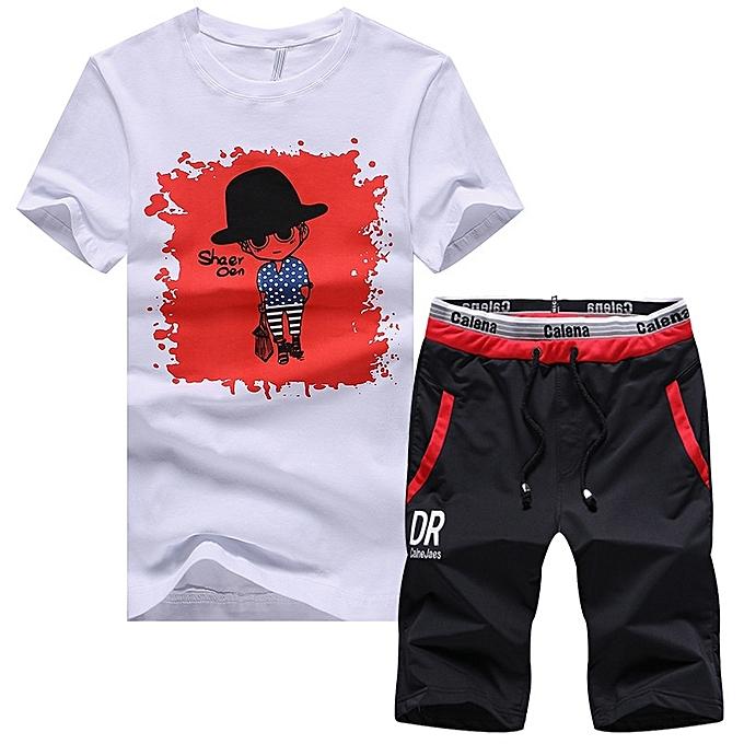 Other Taille m-4XL  voituretoon Printed  T Shirt Two Piece Sports Suit-rouge à prix pas cher