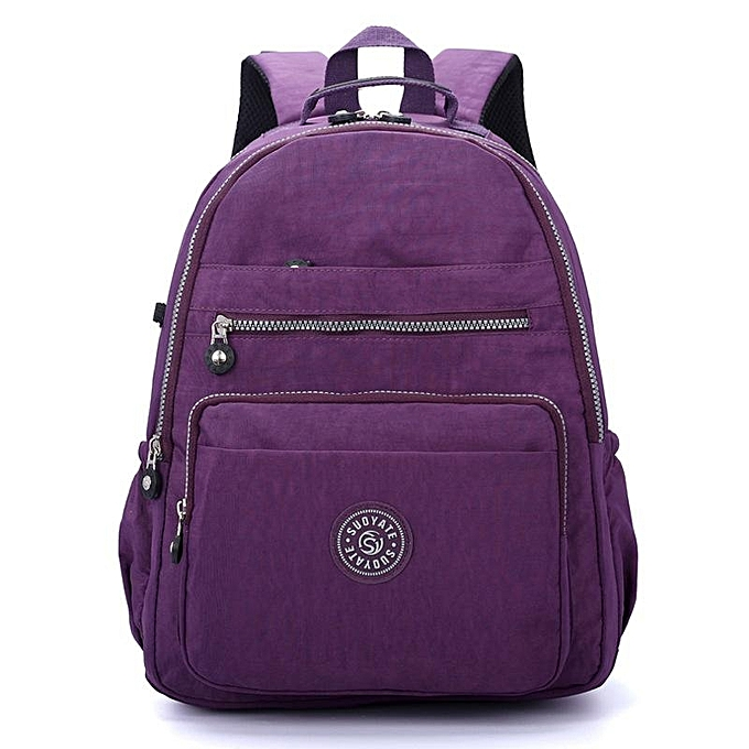 Fashion femmes Nylon Water Repellent Casual Travel Backpack Lightweight Daypack violet à prix pas cher