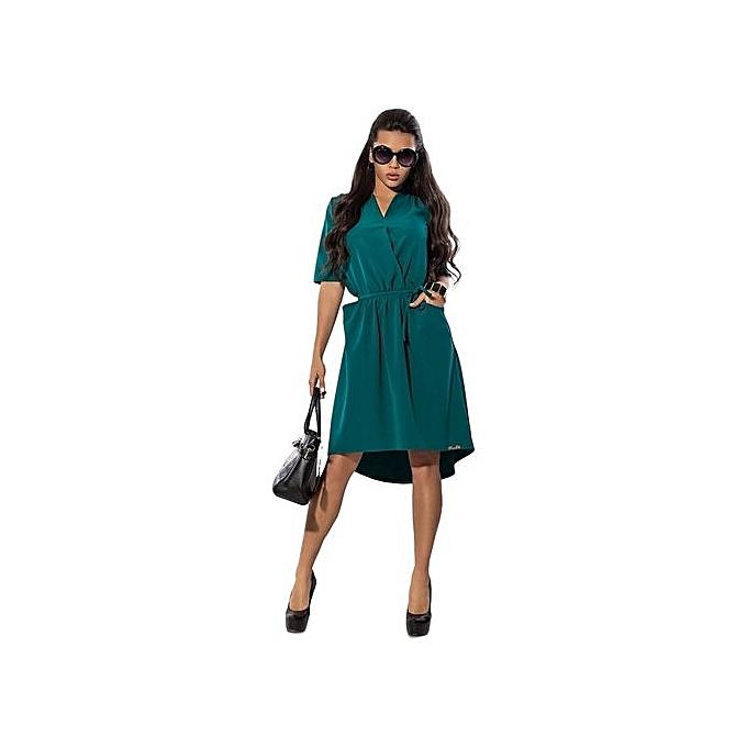 Fashion V-neck femmes Office Dress Elegant Batwing Sleeve vert Dress Female Spring Knee-length Dress With Belt-vert à prix pas cher