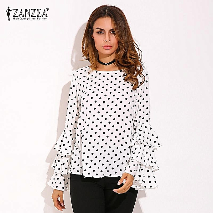 Fashion Plus Taille ZANZEA femmes Polka Dot Ruffle Flouncing Long Flare Sleeves O Neck Blouse Fashion Office Female Tops Shirt bleusas (blanc) à prix pas cher
