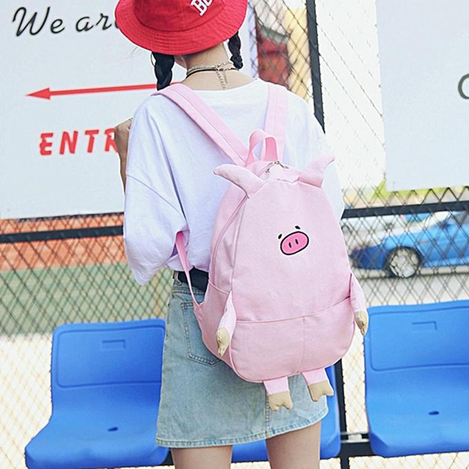 mode femmes Girls Pig sac à dos Cute Piggy toile Student Shoulder School sac sac à dos rose à prix pas cher