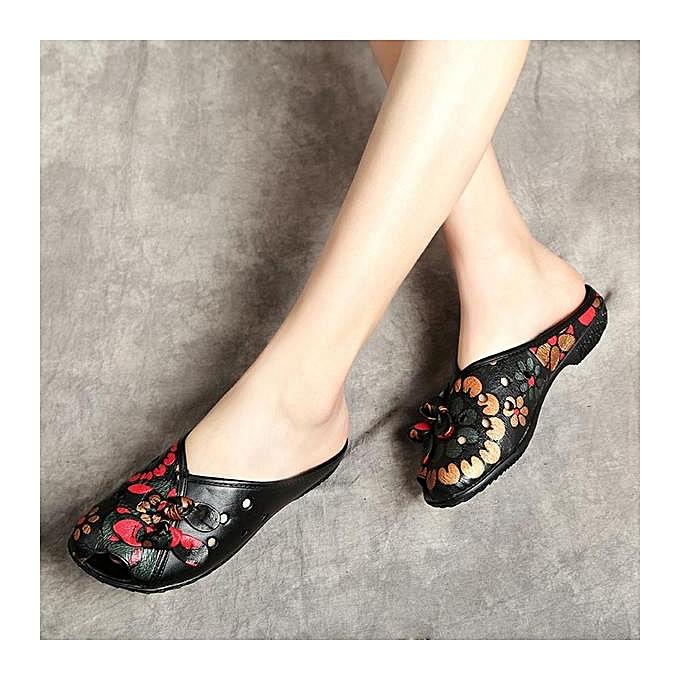 Fashion Fashion WoHommes  Large Size Cow Cow Size Leather Floral Print Backless Slip On Loafers Sandals à prix pas cher  | Jumia Maroc c24870