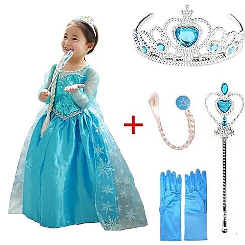 autre robe de princesse elsa la reine des neiges et 4 accessoires s m et l prix pas cher. Black Bedroom Furniture Sets. Home Design Ideas