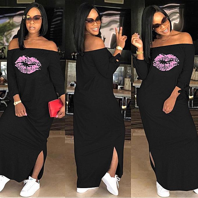 mode femmes mode Letter Print Off The Shoulder manche longue Maxi Robe With Slit à prix pas cher