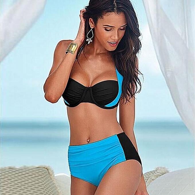 Autre femmes Solid Patchwork Push up Bikini Set High Waist Bikini Halter plage maillot de bain été y Plus Taille Bathing Suits(lumière bleu) à prix pas cher