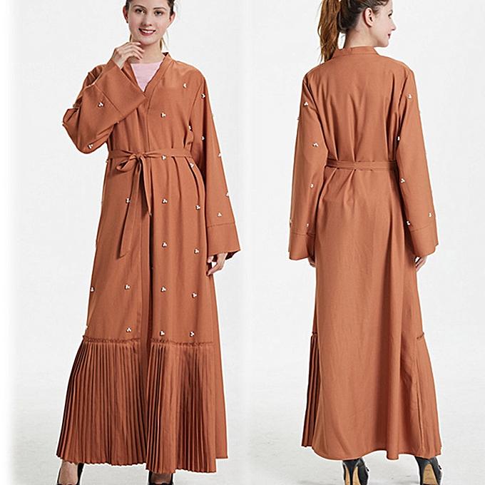 mode quanxinhshang Dubai femmes Pearl Open Kaftan Muslim Long Maxi Robe Arab Abaya Kimono voituredigan à prix pas cher