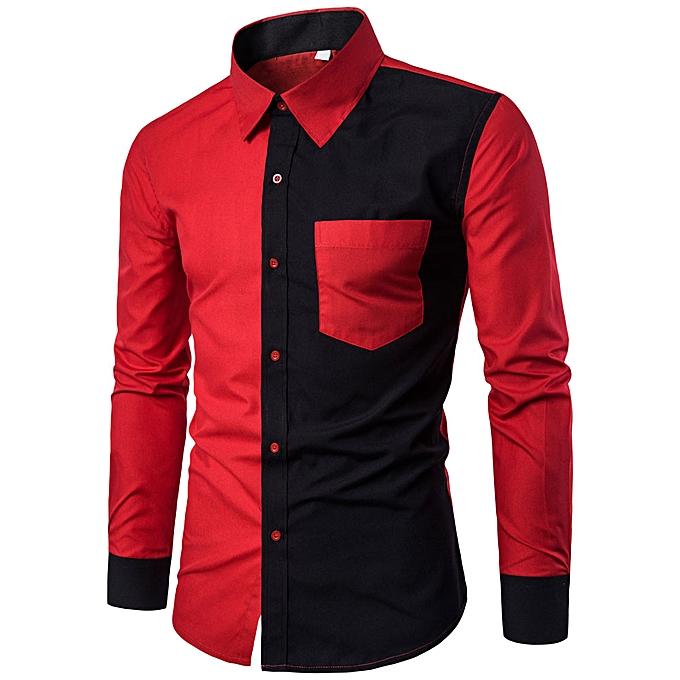Fashion jiahsyc store Mens Fashion Casual Slim Fit Stylish Shirts Long Sleeve Shirt Blouse RD L à prix pas cher