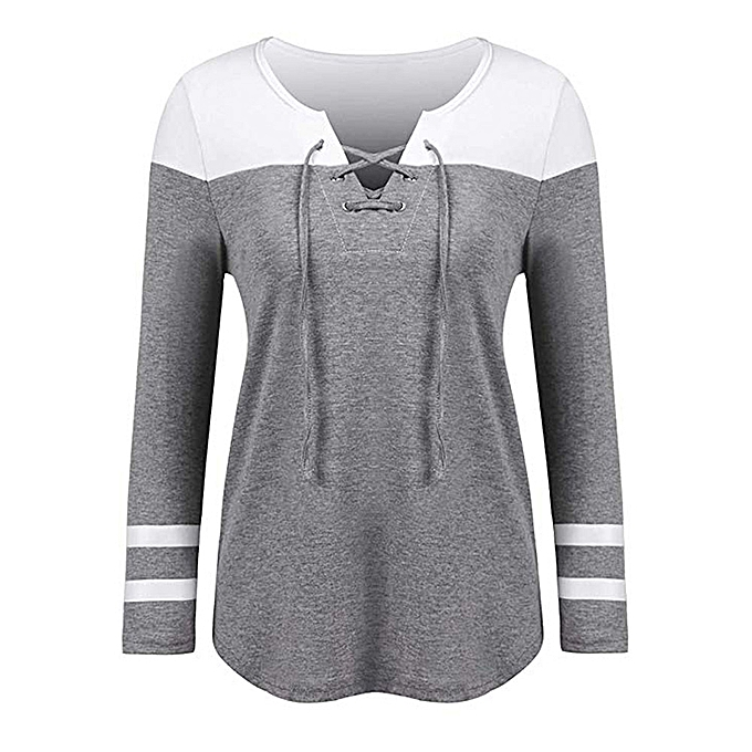 Fashion Hiamok femmes Fashion V-Neck Patchwork Long Sleeve Loose Tops T-Shirt Blouse à prix pas cher