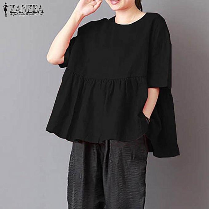 Fashion ZANZEA femmes Casual Plus Taille O Neck Loose Top Tee T Shirt Tunic Blouse à prix pas cher