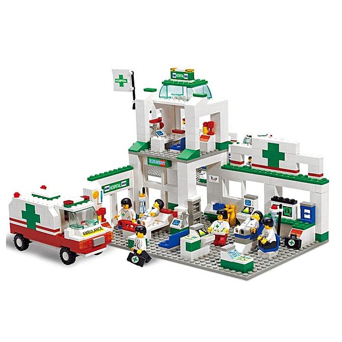 Autre 376 pcs Marque Compatible Assemblée Ville D'urgence Centre Modèle Modèle Kit de Construction Jouets Hôpital Éducatif Ambulance Briques De Voiture à prix pas cher