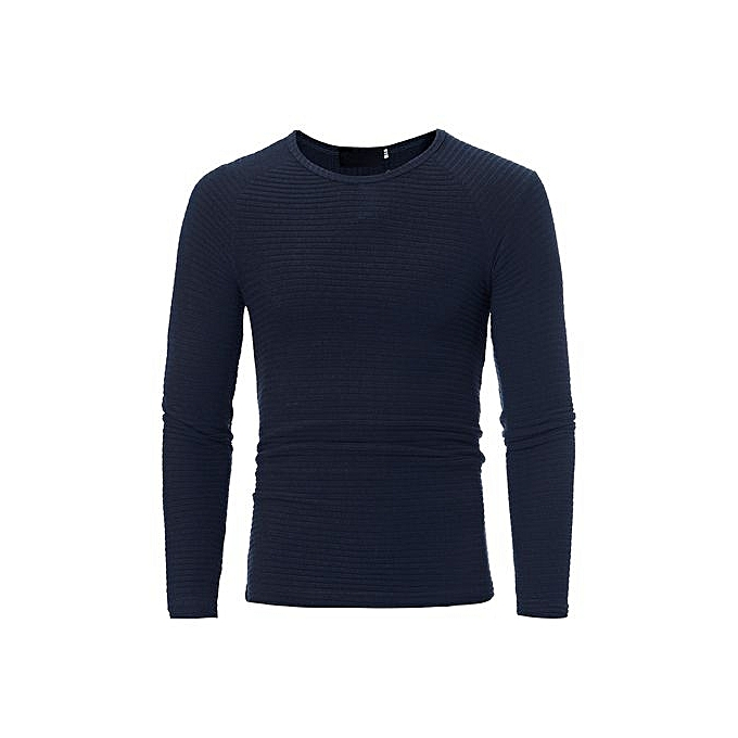 Eissely Man's Autumn Winter Casual O-Neck Men's Slim Sweaters Tops Blouse -Navy à prix pas cher