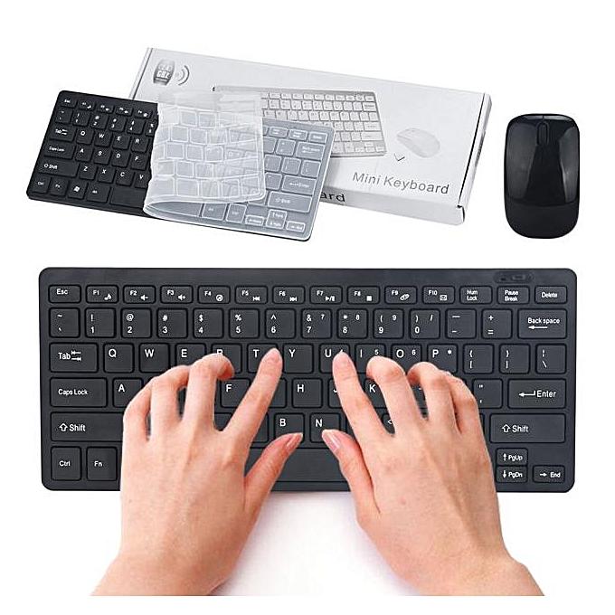 Generic Slim Mini 2.4G Cordless Wireless Optical Keyboard Mouse Kit For PC Laptop Win7 8 à prix pas cher