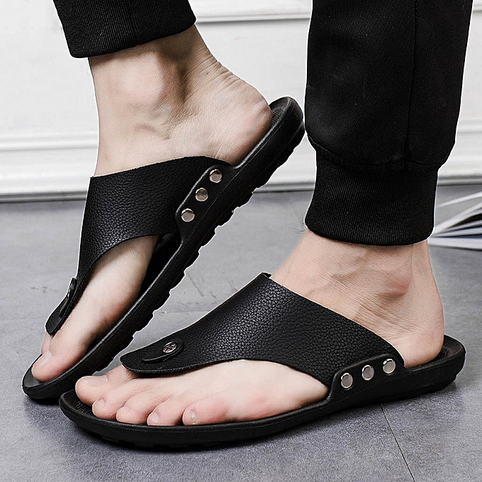 Fashion jiuhap store Men Summer Rome Flip Flop Beach Slipper Comfortable T-Strap Open Toe Slipper à prix pas cher