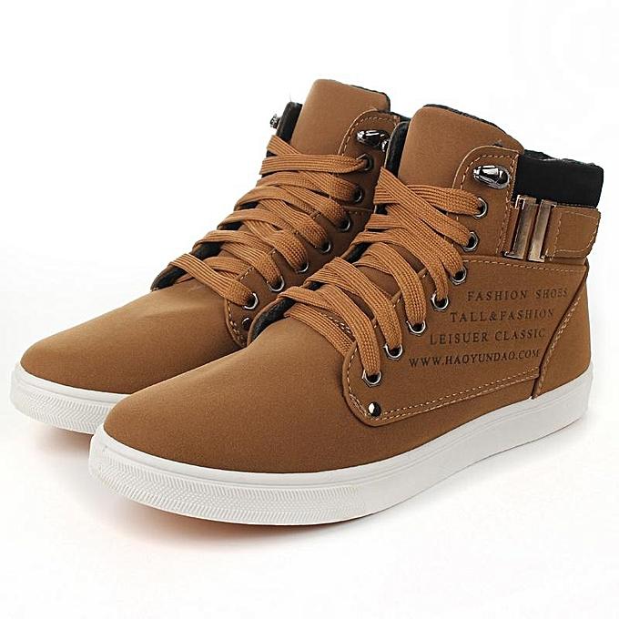Fashion 2016 Hot Fashion Mens chaussures Leather chaussures Casual High Top chaussures Canvas baskets-EU à prix pas cher
