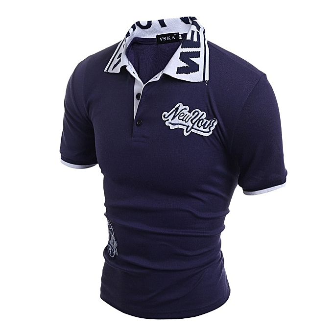 Other New Stylish Newyork Letters Embroidery Men's Short Sleeve Polo Shirt à prix pas cher