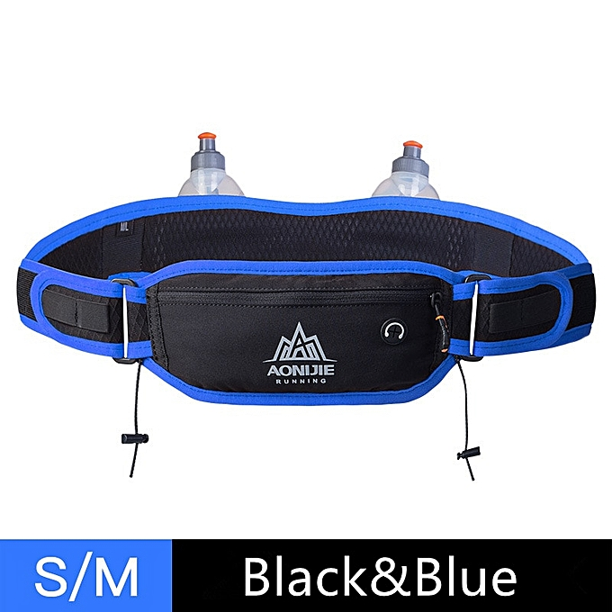 AONIJIE Men femmes Running Waist Pack Hydration Belt with 2 Water Bottles Hip Pouch Mobile Phone Pocket Case for Outdoor Sports(noir-bleu 1) à prix pas cher