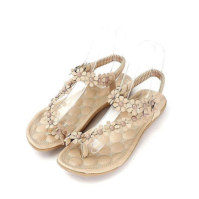Fashion Fashion Summer femmes Bohemia Floral Sandals Flat chaussures Strappy Beach Flip Flops-EU à prix pas cher