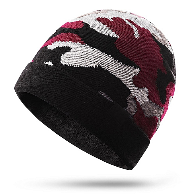 AONIJIE Men femmes Winter Cap Keep Warming Knitting Camouflage Warm Riding Snowboard Sports Knitted Hiking Cap Hat(rouge) à prix pas cher