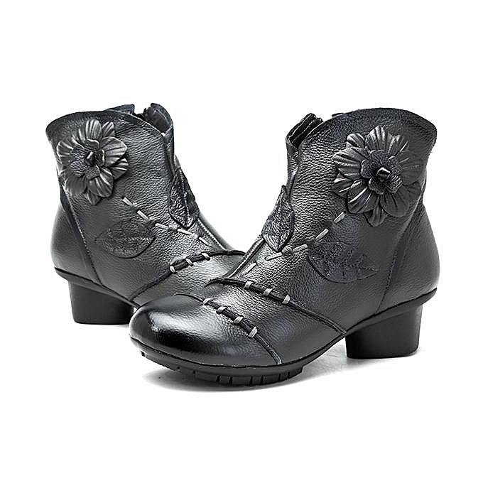 Fashion SOCOFY Fashion Vintage Handmade Floral Pattern Zipper Zipper Zipper Ankle Leather WoHommes  Boots à prix pas cher  | Jumia Maroc c281e9