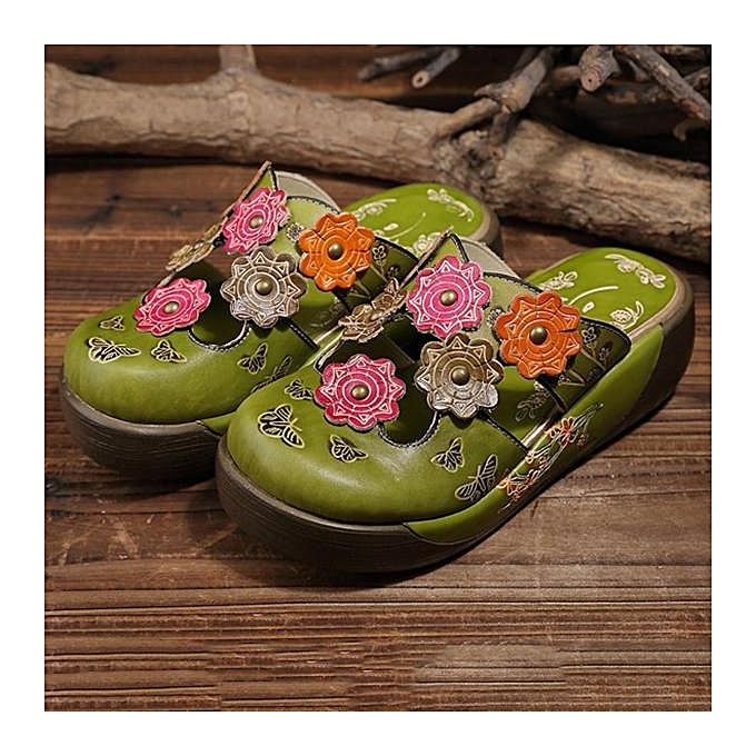Fashion Colorful SOCOFY WoHommes  Colorful Fashion Flower Butterfly Leather Hollow Out Platform Shoes Wedge Sandals-EU à prix pas cher  | Jumia Maroc b38bfb