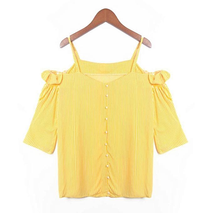Generic Generic Fashion femmes Strappy Slash Neck Short Sleeve Striped Casual Vest Tops Blouse  A1 à prix pas cher