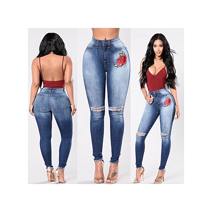 OEM nouveau style mode hole embroiderouge high elastic jeans female causal pocket skinny pencil jean pants jeans femmes trousers-bleu à prix pas cher