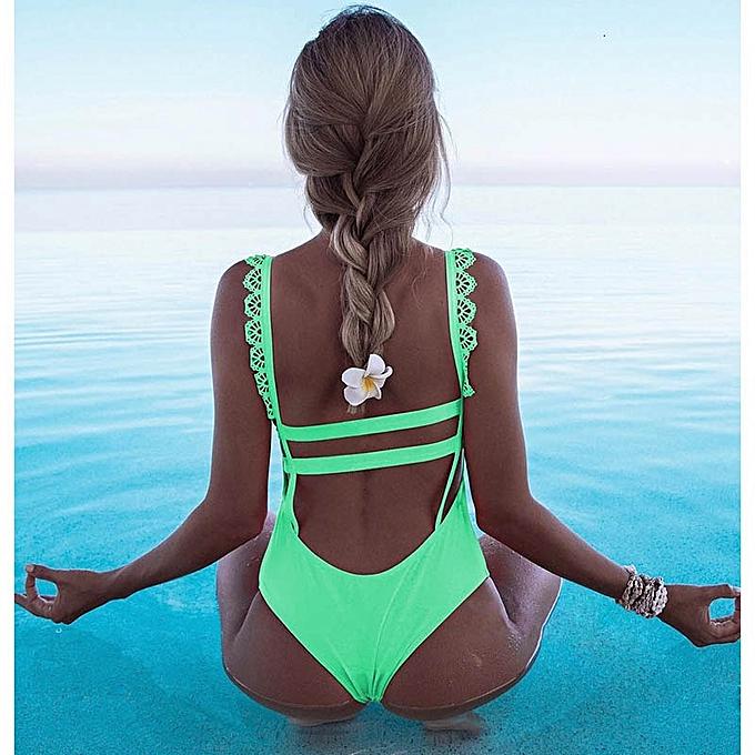 Autre Off Shoulder Swimwear femmes Swimsuit Print Solid Swimsuit Ruffle Bathing Suit Beach Backless Swim(14) à prix pas cher