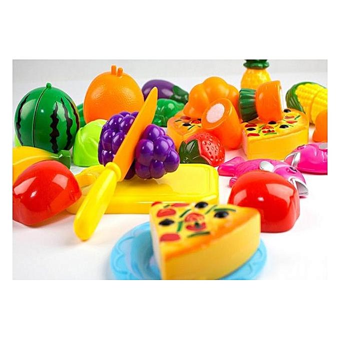 Generic Fovibery 24 Pieces Kitchen Dinner Cutting Treats Fun Play Food Set Living Toys For Kids à prix pas cher