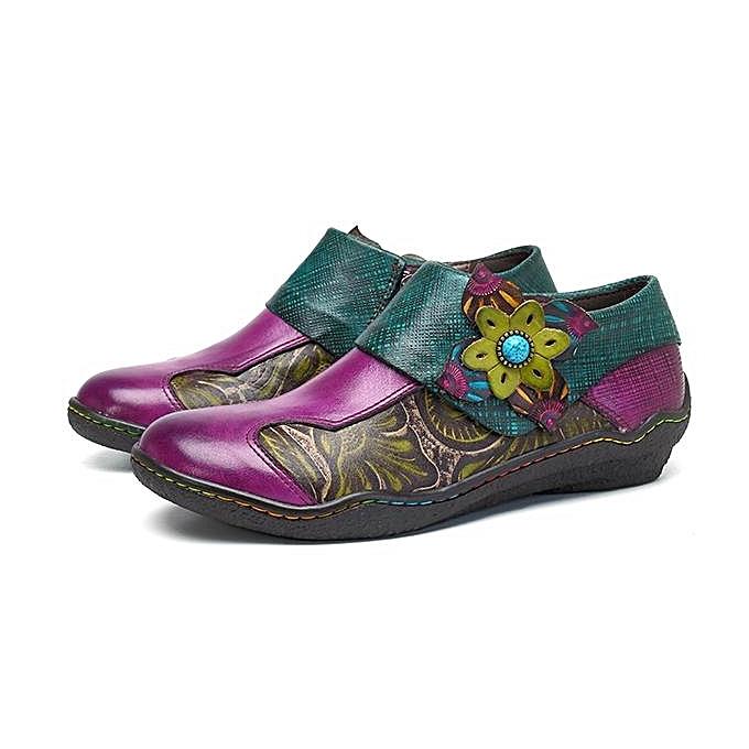Fashion SOCOFY New Printing Splicing Plant Pattern Hook Loop Loop Loop Flat Leather Shoes à prix pas cher  | Jumia Maroc d03b9b