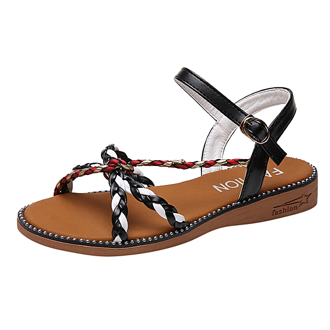 Fashion femmes Casual Open Toe Flat With Buckle Strap chaussures Low Heels Sandals à prix pas cher
