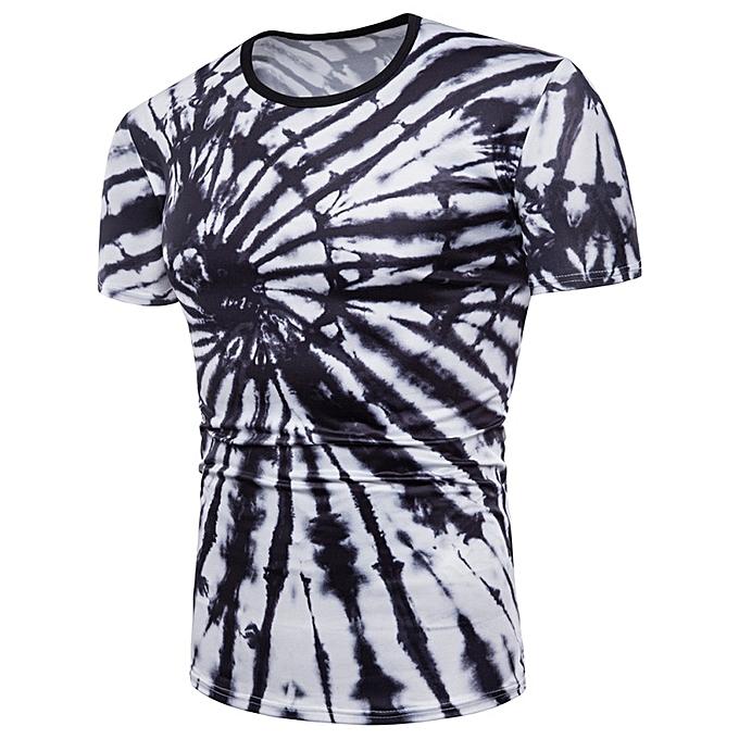 Fashion Mens Stripe 3D Printing Tees Shirt Short Sleeve T-Shirt Blouse Tops -blanc à prix pas cher