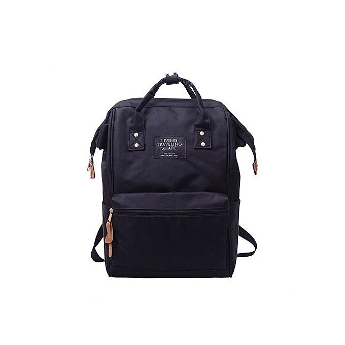 mode SingedanUnisex Solid sac à dos School voyage sac Double Shoulder sac Zipper sac BK -noir à prix pas cher