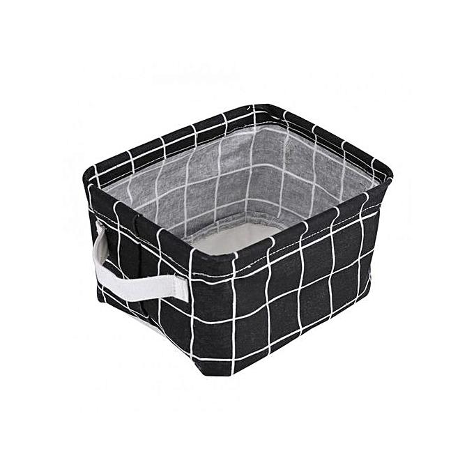 Other Foldable Fabric Convenient Storage Laundry Box Basket Keep Table Tidy Decor noir Lattice à prix pas cher