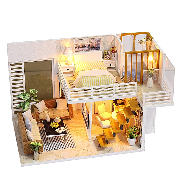 Autre Miniature Super Mini Taille Doll House Model Building Kits boisen Furniture Toys DIY Dollhouse Girl Bedroom Simple and Elegant à prix pas cher