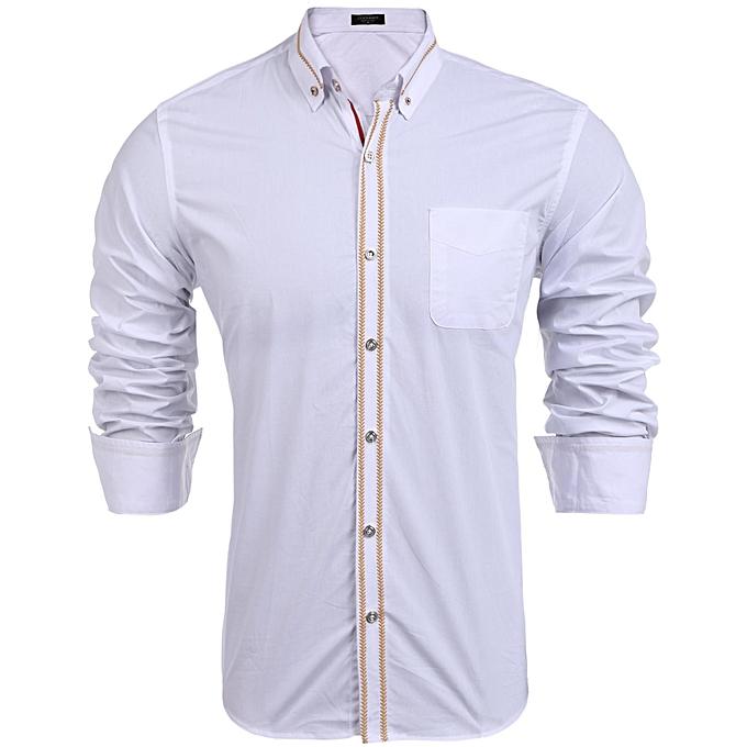 Sunshine Hommes manche longue Embroidery Button Down Basic Shirts-Blanc à prix pas cher