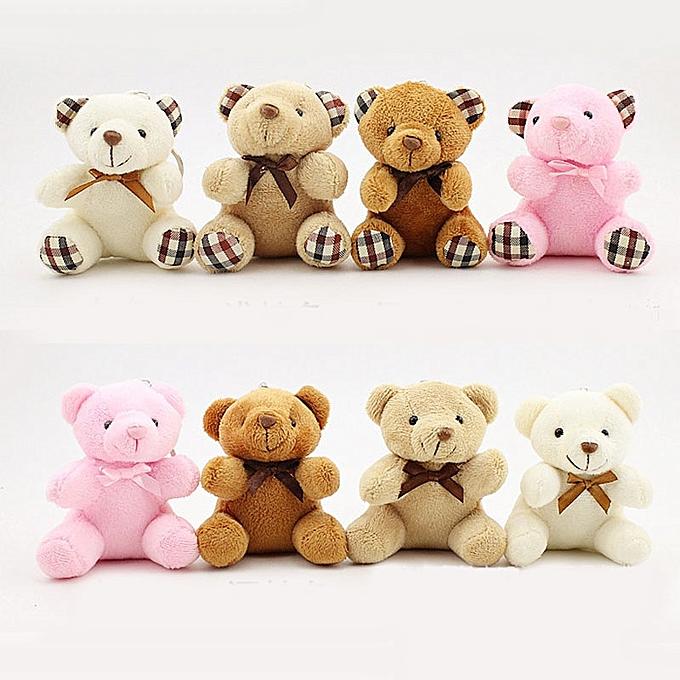 Autre 8CM Teddy Bear Cute Plush Toys sac Keychaîne voiture Key Holder for pendentif Doll Enfants Toys Stuffed Animals Fluffy Bear Toy I0109(F) à prix pas cher