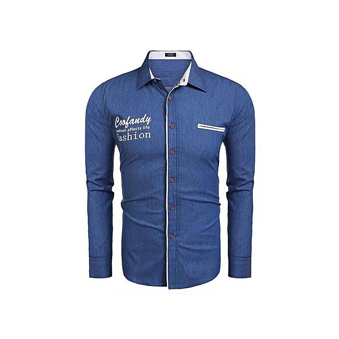 Generic Men Long Sleeve Letter Patchwork Denim Slim Fit Casual Button Down Shirt-bleu à prix pas cher