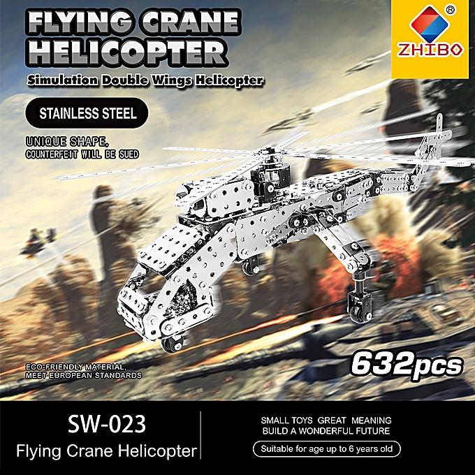 Autre 632Pcs Heavy Lift Helicopters Intelligent Construction Set 3D Stainless Steel Model Kit DIY Gift Model Building Educational Toys à prix pas cher